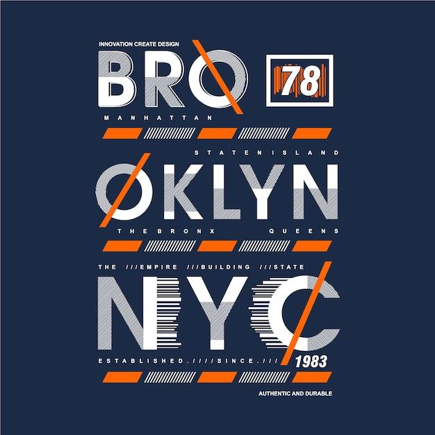 Brooklyn texte cadre graphique typographie conception t-shirt Vecteur Premium