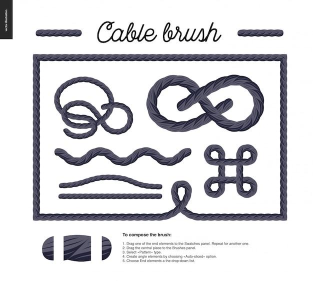 Brosse à câble - brosse de vecteur de détail de corde avec éléments d'extrémité et quelques exemples d'utilisation - noeuds, boucles, cadres. Vecteur Premium