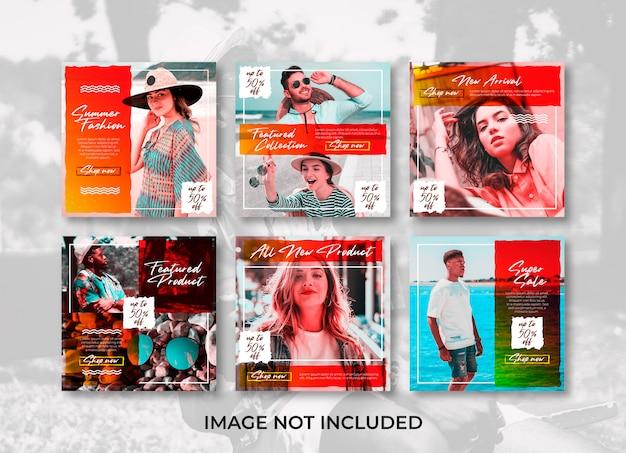 Brosse été Mode Magasin De Médias Sociaux Bannière Instagram Modèles Vecteur Premium