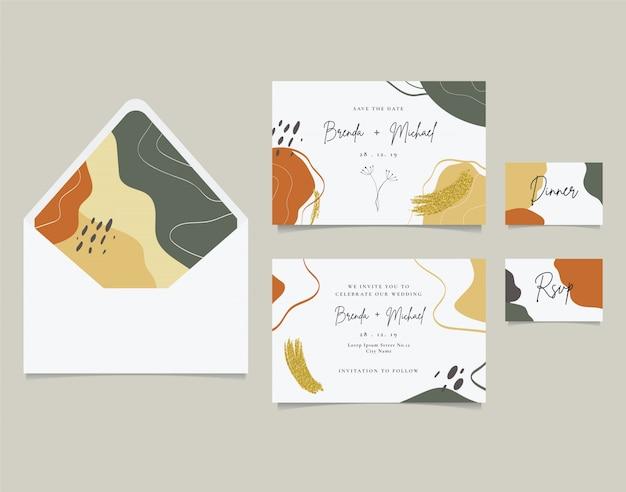 Brosse à paillettes dorées de carte d'invitation de mariage élégant Vecteur Premium