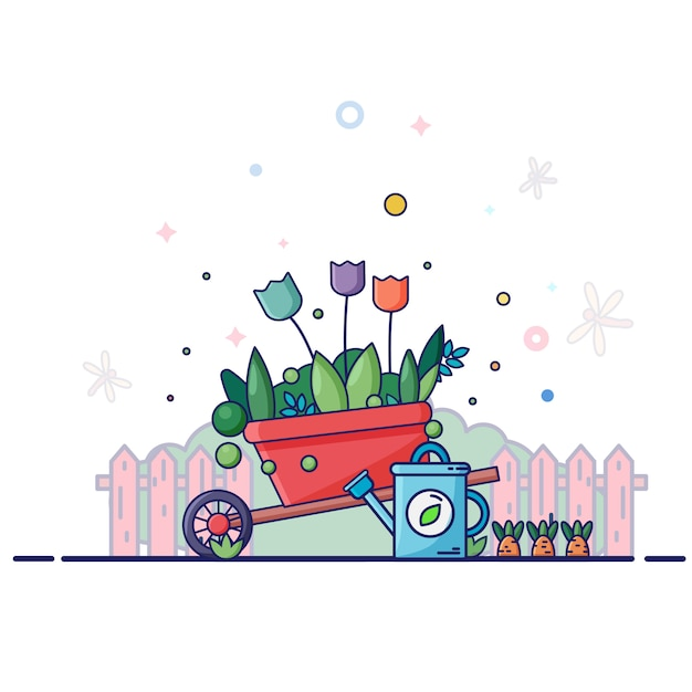 Brouette De Jardin Rouge Avec Arrosoir Bleu. Autour De Clôture, Plantes, Fleurs, été, Libellules. Vecteur Premium