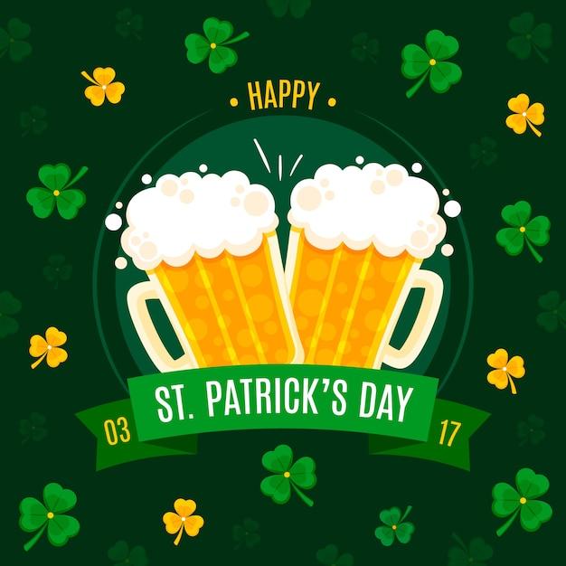Brouillons De Bière Et Trèfles St. Jour De Patrick Vecteur gratuit