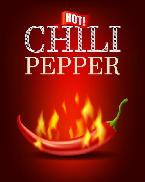 Brûlant piment avec flamme sur fond rouge Vecteur Premium