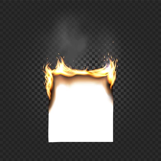 Brûler Des Bords A4 De Feuille De Papier Gros Plan Isolé Sur Fond Quadrillé Noir Vecteur Premium