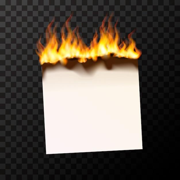 Brûler Un Morceau De Papier Blanc Brillant Avec Des Flammes De Feu Vecteur Premium
