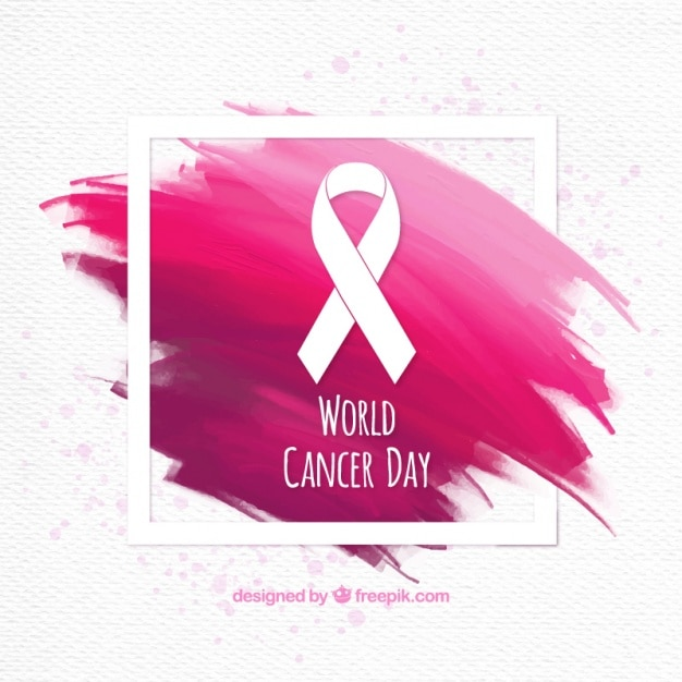 Brushstrokes fond avec ruban de jour du cancer du monde Vecteur gratuit