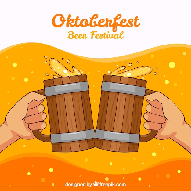 Brûte à la bière oktoberfest background Vecteur gratuit