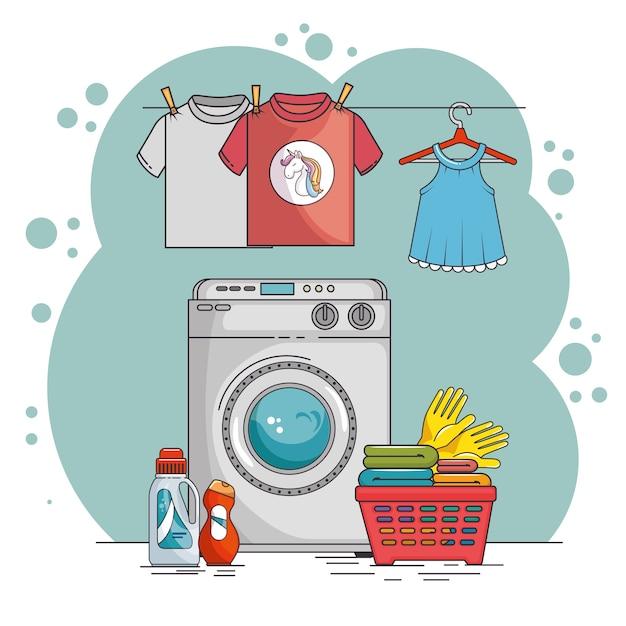 Buanderie Avec Machine à Laver Et Vêtements | Vecteur Premium