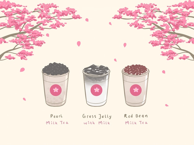 Bubble milk tea dessiné à la main Vecteur Premium