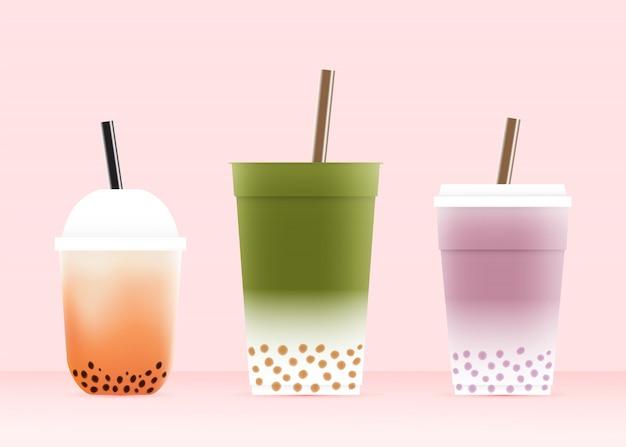 Bubble tea avec divers verres en illustration vectorielle schéma de couleurs pastel Vecteur Premium
