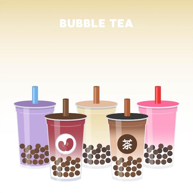 Bubble tea ou thé au lait perlé set vector illustration Vecteur Premium
