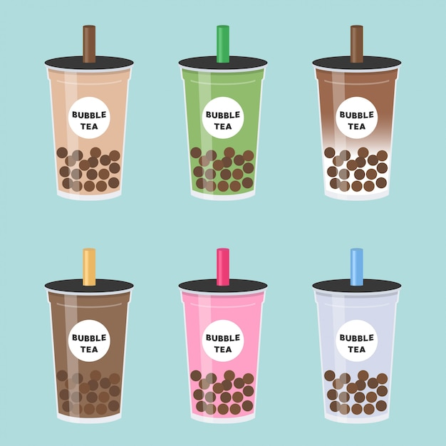 Bubble tea ou thé au lait perlé set vector illustration Vecteur Premium