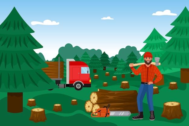 Bûcheron Avec Bûcheron En Forêt Vecteur Premium