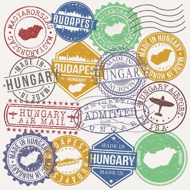 Budapest hongrie ensemble de timbres de voyage et d'affaires Vecteur Premium
