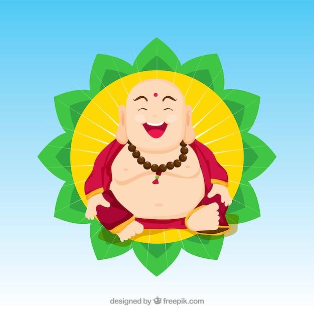 Budha coloré avec un design plat Vecteur gratuit