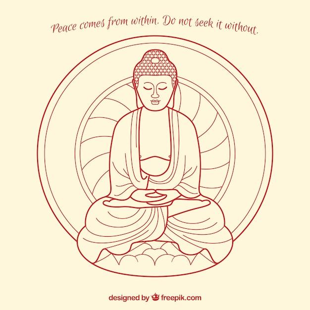 Budha composition avec citation Vecteur gratuit