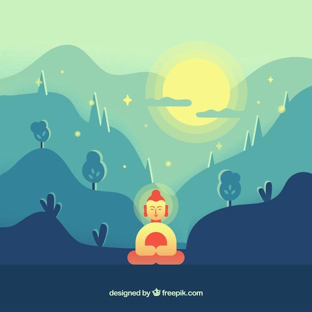 Budha dans la nature avec un design plat Vecteur gratuit