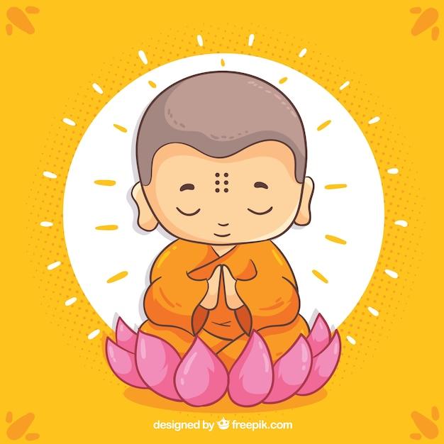 Budha Dessiné Main Avec Visage Souriant Vecteur gratuit
