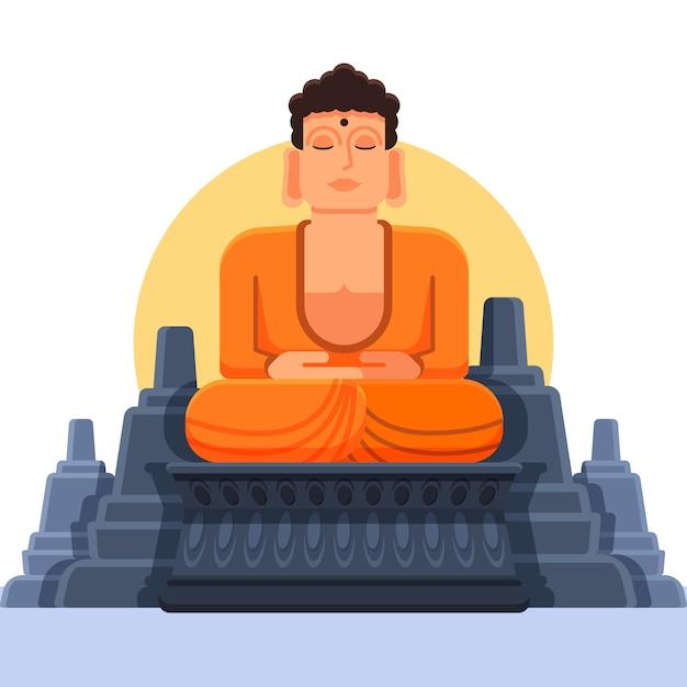 Budha smiley avec un design plat Vecteur gratuit