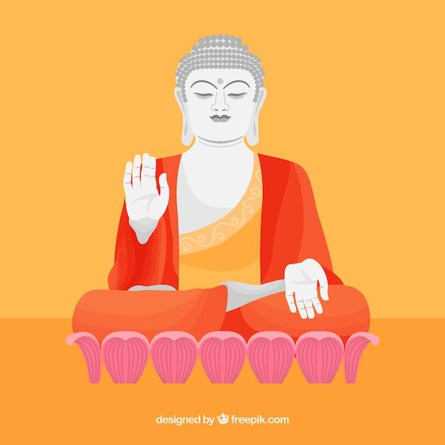 Budha traditionnel avec un design plat Vecteur gratuit