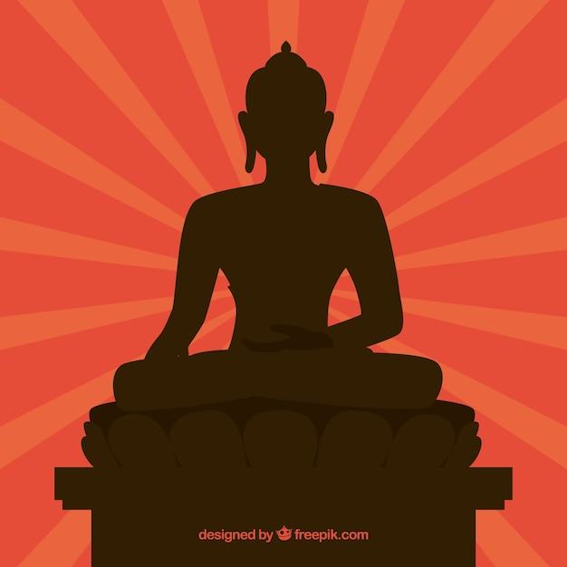 Budha traditionnel avec un design de silhouette Vecteur gratuit
