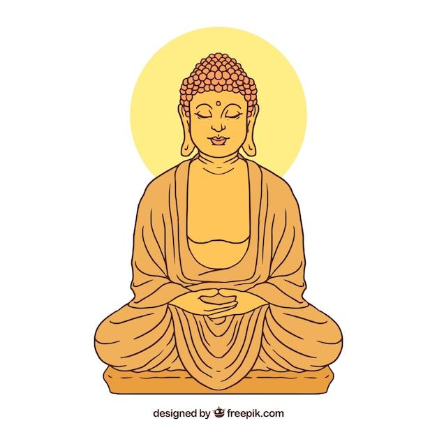 Budha Traditionnel Avec Style Dessiné à La Main Vecteur gratuit