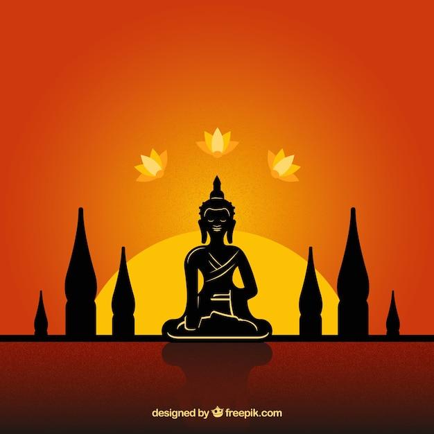 Budha traditionnel avec style de silhouette Vecteur gratuit