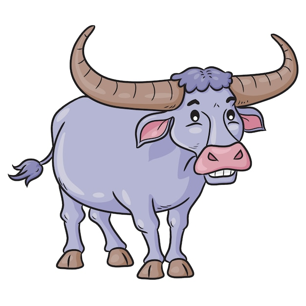 Buffalo Cute Cartoon Vecteur Premium