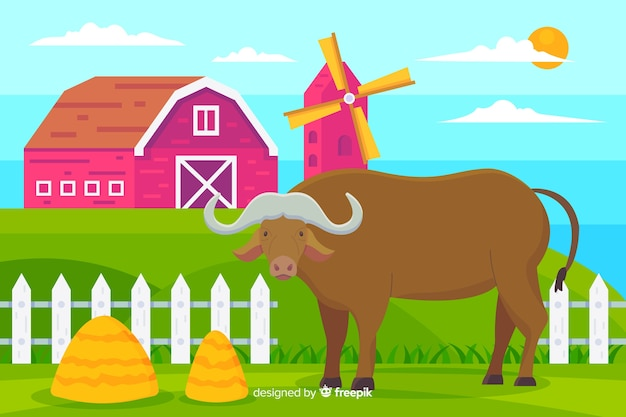 Buffalo à La Ferme Illustration Vecteur gratuit