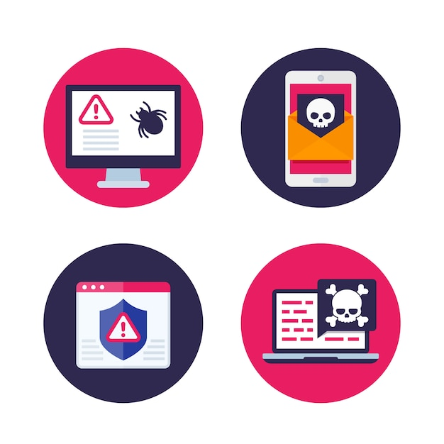 Bug Informatique, E-mail Avec Virus, Spam Mobile, Malware Et Icônes De Cyberattaque Vecteur Premium