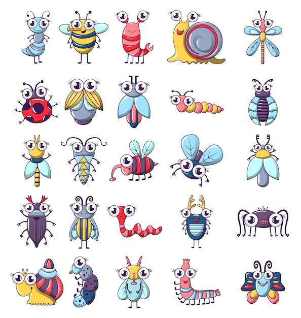 Bug jeu d'icônes insectes drôle Vecteur Premium