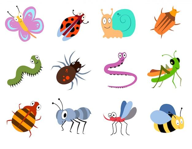 Bugs Mignons Et Drôles, Collection De Vecteurs Insectes Vecteur Premium