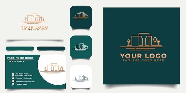 Building_logo_template_and_business_card_ Vecteur Premium
