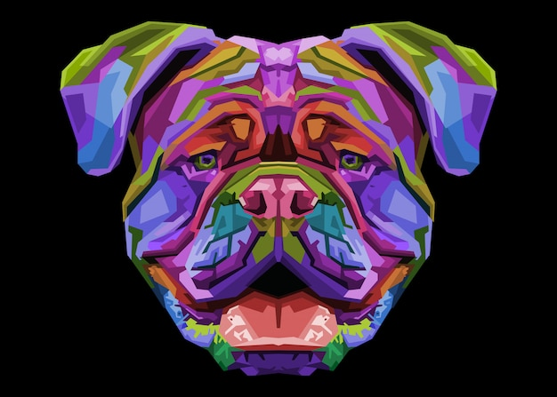 Bulldog Britannique Coloré Sur Le Style Pop Art. Vecteur Premium