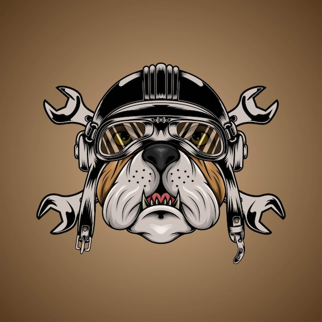Bulldog Brown Head Portant Un Casque De Moto Avec Une Clé Vecteur Premium