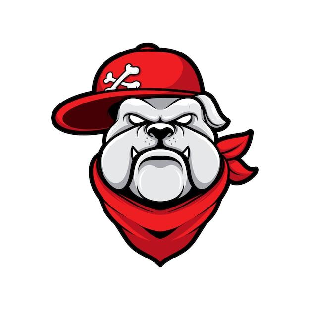 Bulldog Chien Gangster Logo Avec Dessin Anime Mascotte Chapeau Vecteur Premium