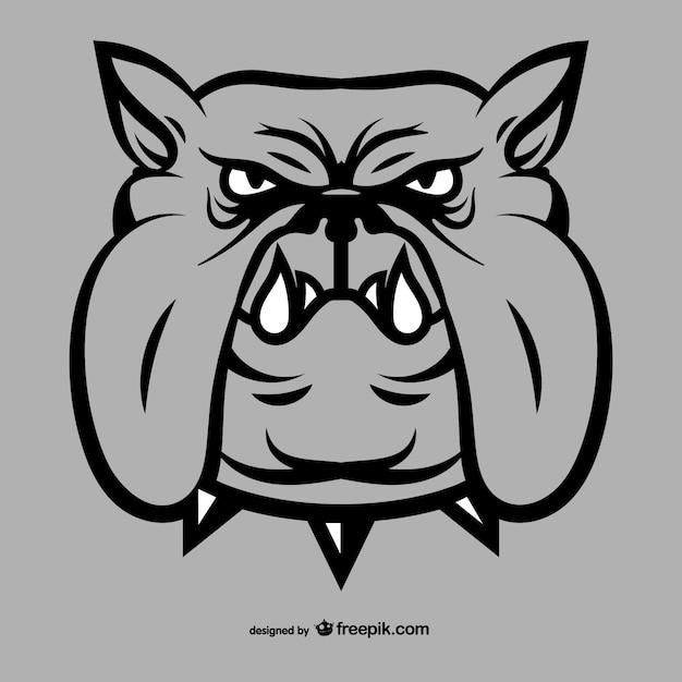 Bulldog dessin du visage Vecteur gratuit