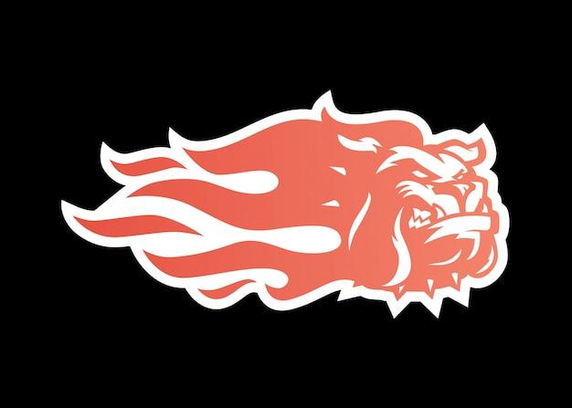 Bulldog fire icône illustration logo pour la marque, autocollant voiture wrap, autocollant et rayures Vecteur Premium