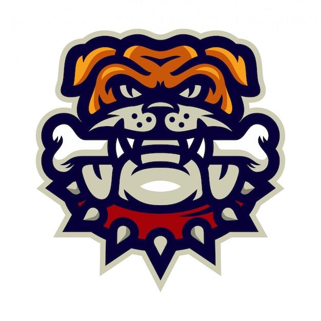 Bulldog morsure osseuse mascotte logo illustration vectorielle Vecteur Premium