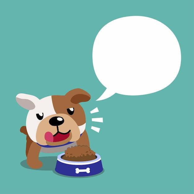 Bulldog De Personnage De Dessin Animé Et Bulle De Dialogue Vecteur Premium