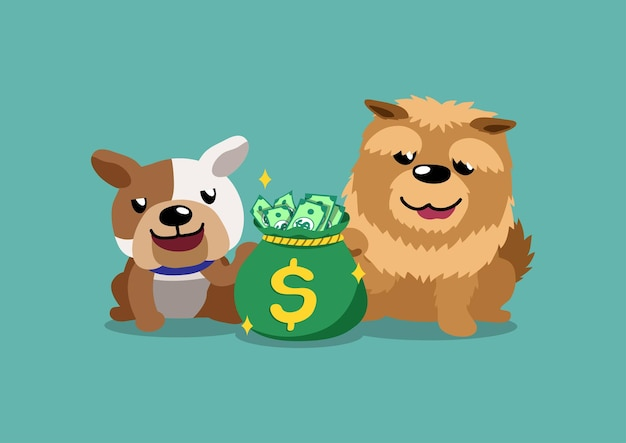 Bulldog De Personnage De Dessin Animé Et Chien Chow Chow Avec Sac D'argent Vecteur Premium