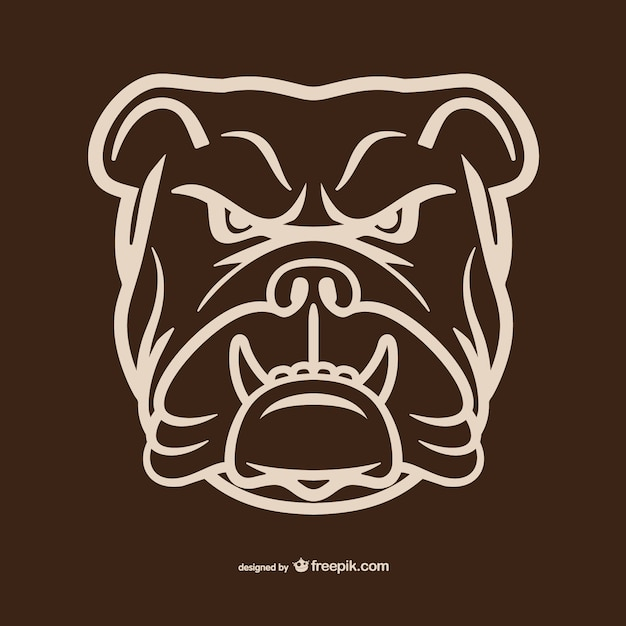 Bulldog tête aperçu Vecteur gratuit