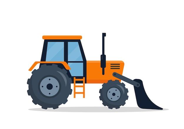 Bulldozer Sur Chenilles Isolé Sur Fond Blanc. Vecteur Premium