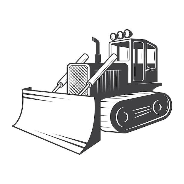 De Bulldozer. Noir Et Blanc Vecteur gratuit
