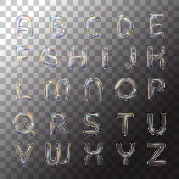 Bulle d'alphabet savon sur fond transparent Vecteur Premium