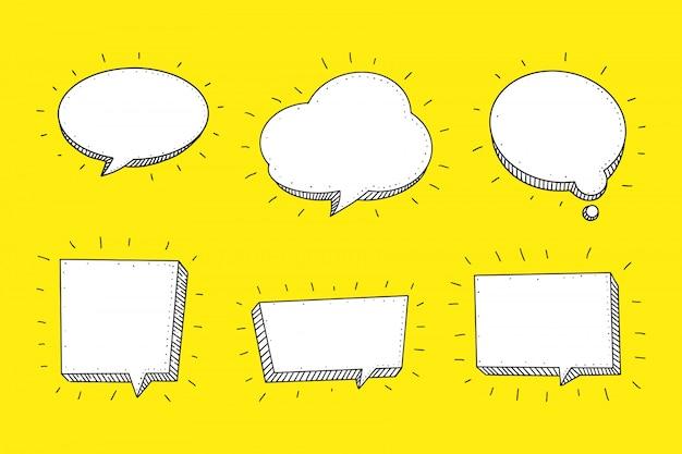 Bulle De Dialogue Définie Dans Le Style Dessiné à La Main Sketch. Vecteur Premium
