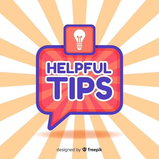 Bulle plate fond utile conseils Vecteur gratuit
