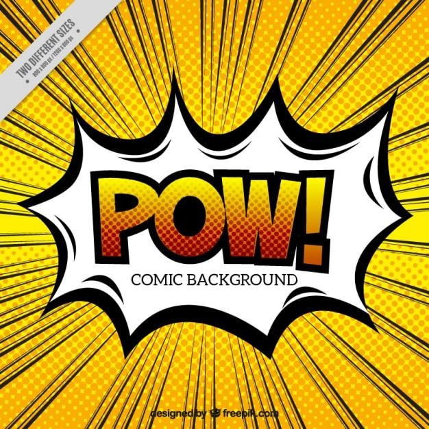 Bulle pow avec un fond dans le style pop art Vecteur gratuit