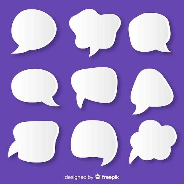 Bulle de style papier sur fond violet Vecteur gratuit