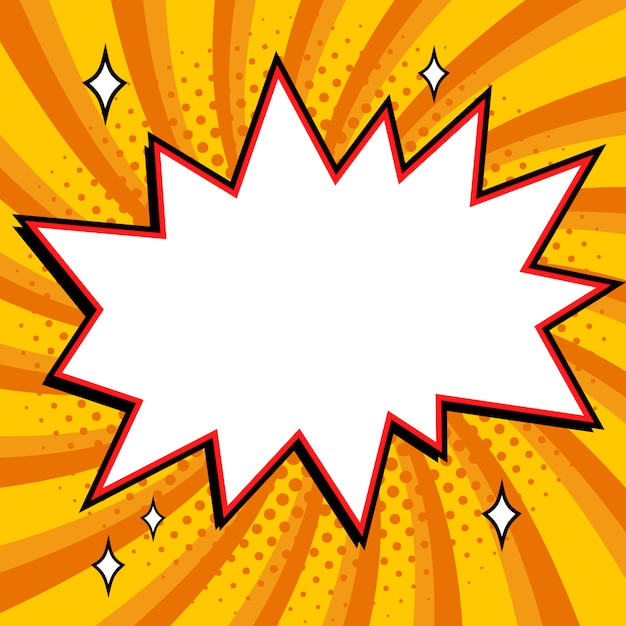 Bulle de style pop art. forme de bang vide de style bande dessinée pop-art sur un fond jaune tordu. Vecteur Premium